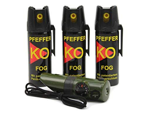 BALLISTOL Verteidigungsspray Pfeffer KO Fog 3 Dosen mit je 50 ml Pfefferspray bis zu 5 m Reichweite inkl. Signalpfeife 6in1