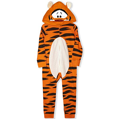 Disney Boy's Tigger Hooded Coverall Onesie with Ears, 100% Cotton, Orange, Size 3T