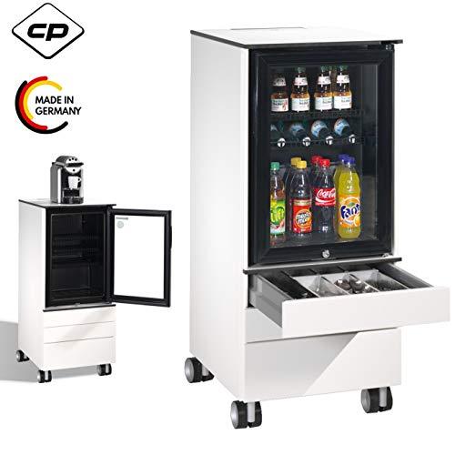 CP Asisto Caddy Mini-Kühlschrank rollbar in weiß - Servierwagen & Rollwagen für Getränke, Tassen, Gläser, Teller & Besteck