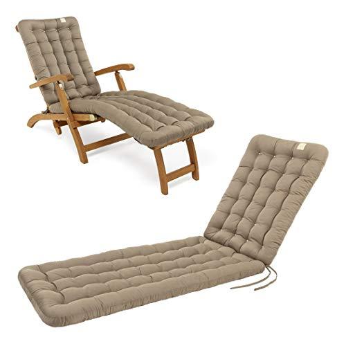 HAVE A SEAT Luxury - Deckchair Auflage, Bequeme Liegestuhl Polsterauflage, waschbar bei 95°C, Trockner geeignet, UV-Beständig, Made in Germany (180x50 cm, Goldbraun)