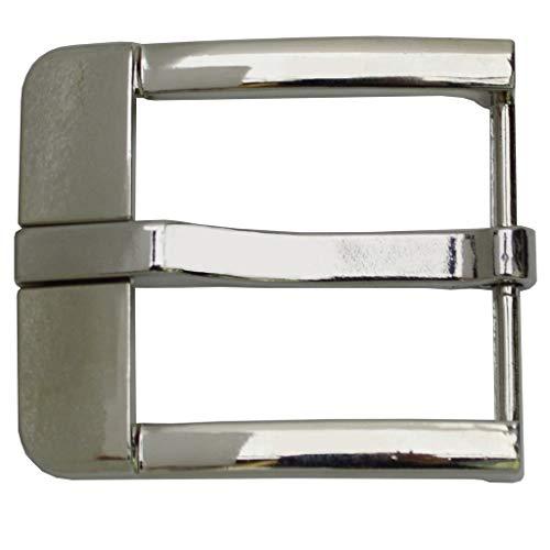 flevado Gürtelschnalle silber Buckle 40 mm Metall Dornschließe für Gürtel mit 4 cm Breite M 10