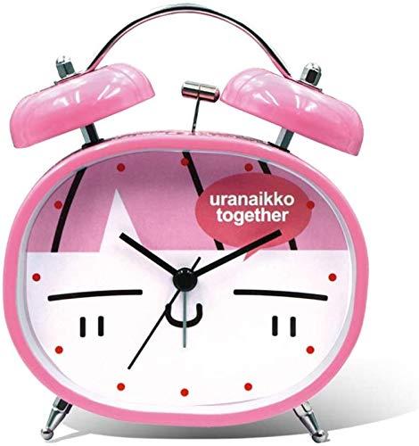 SONG Reloj Despertador Creativo Mudo Junto a La Cama, Dibujos Animados Especiales para Niños, Despertador de Timbre de Gran Tamaño, Reloj Despertador para Estudiantes,Pink