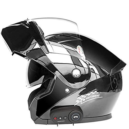 YANHAI Cascos abatibles Visera antivaho Abatible Moto Casco Bluetooth Motocicleta, Manos Libres, sin Ruido B-X-Large