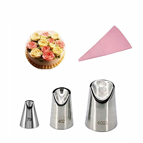 GOOTRADES 3 Pcs-Set Russian Icing Piping Nozzle Tips (No.79,402,402L) with Free Pastry Bag