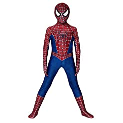 Yongenshang The Spider Verse Kids Bodysuit Miles Morales Red Spiderman Costume Superhero Costumes Lycra Spandex Zentai Halloween Cosplay Costumes Red Spiderman140