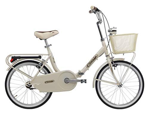 CINZIA Bici Bicicletta Pieghevole Smarty Shimano 6V con Cestino Panna