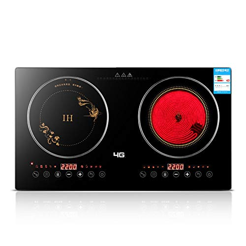 ZHSHOP Induction Cooker Induktionskochfeld, 2200W Plug-in Induktions kochplatte, mit 8 Ebenen, Kindersicherung und Touchscreen-Steuerung Kochfelder Elektro Desktop Embedded Dual Purpose