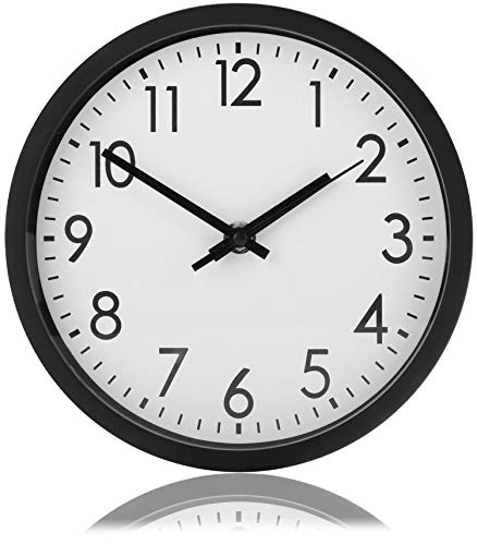 com-four® Analoge Wanduhr mit großem Ziffernblatt - schöne Uhr für Küche, Wohnzimmer, Schlafzimmer und Büro - Ø 20 cm (1 Stück - schwarz)
