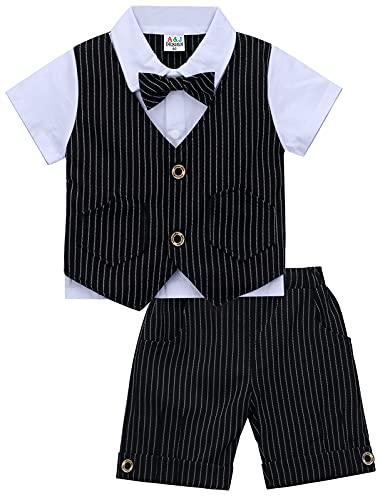 mintgreen mintgreen Baby Jungs Herren Anzug Hochzeitsfeier Smoking Zwei Teilige Outfits, Schwarz, 2-3 Jahre (Herstellergröße: 100)