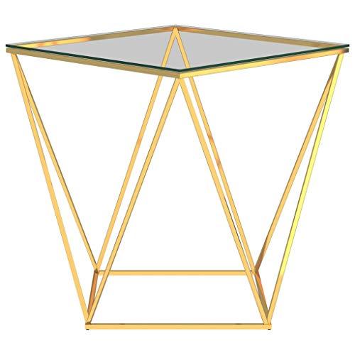 Wakects Mesa de centro de diseño moderno, mesa geométrica, mesa auxiliar de acero inoxidable dorado y transparente, 50 x 50 x 55 cm