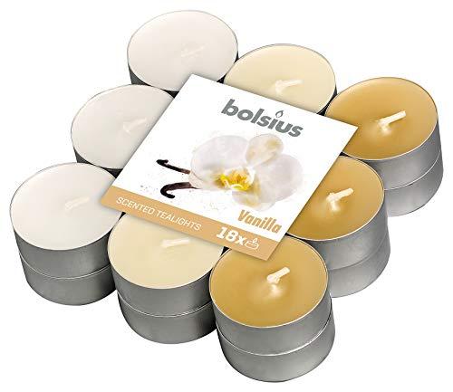 Bolsius 18 Tealights + -4h, 3 Colori, Fragranza Vaniglia