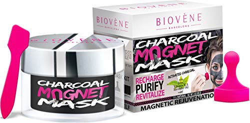 Biovène Charcoal Magnet Mask in Jar -3-oz. With Activated Charcoal, Iron Magnetic Particles. Anti-Aging, Rejuvenating.