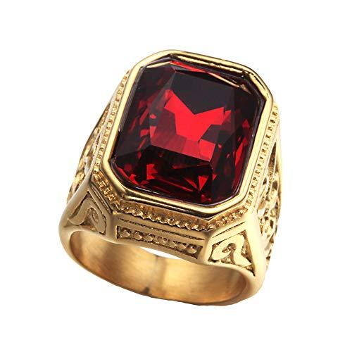 PAURO Anillo De Bodas Cuadrado De Oro De La Vendimia del Acero Inoxidable De Los Hombres De con Piedra Grande Roja TamañO 14