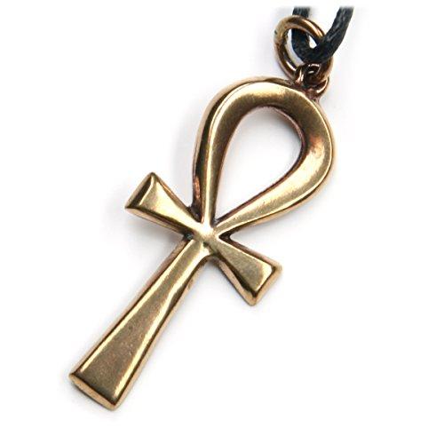 Collar con colgante de cruz egipcia de bronce de 5 cm de largo, incluye cordón de algodón negro