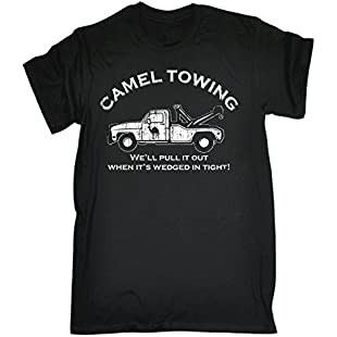 123t Slogans Men's CAMEL TOWING WE'LL PULL IT OUT WHEN IT'S WEDGED IN TIGHT (XL - BLACK) LOOSE FIT T-SHIRT