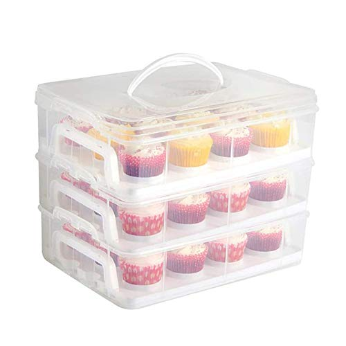 3 Tier Cupcake Storage Carrier, Store up to 36 Cupcakes or 3 Large Cakes Food Transporter Container