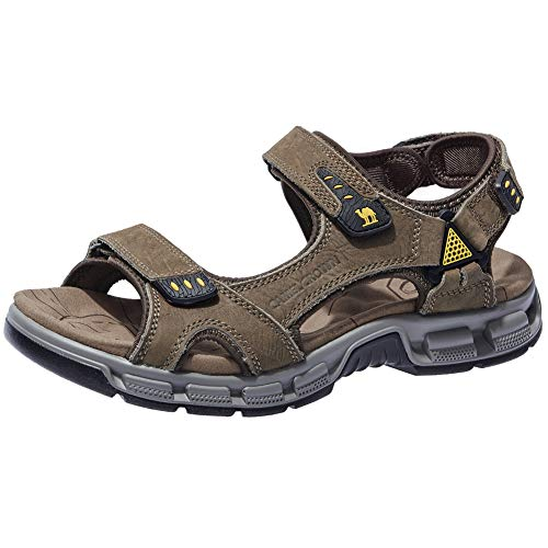 CAMEL CROWN Men's Leather Sandals Summer Athletic Sandals Air Cushion Casual Strap Water Sandals for Outdoor Hiking Walking Beach (9.5 US, Coffee)