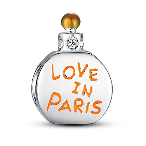 Glamulet Love in Paris Perfume Bottle Charms 925 Sterling Silver Beads Fits for Bracelet Ideal Jewelry Gifts for Women