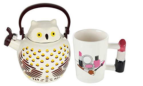 HOME-X Owl Whistling Tea Kettle & Lipstick Handle Ceramic Mug