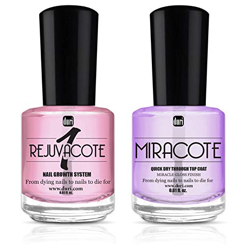 duri Rejuvacote 1 Original Maximum Strength Nail Growth System Base, Top Coat and Miracote Quick Dry...