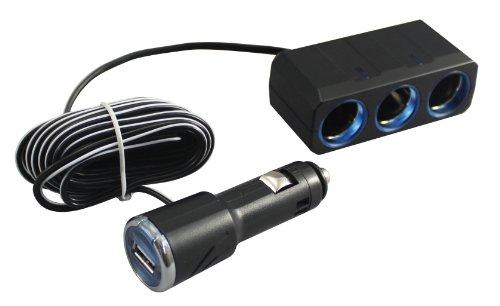 槌屋ヤック 車用 ソケット分配器 3連リングライトソケット+USBポートプラグ 3m PZ-621