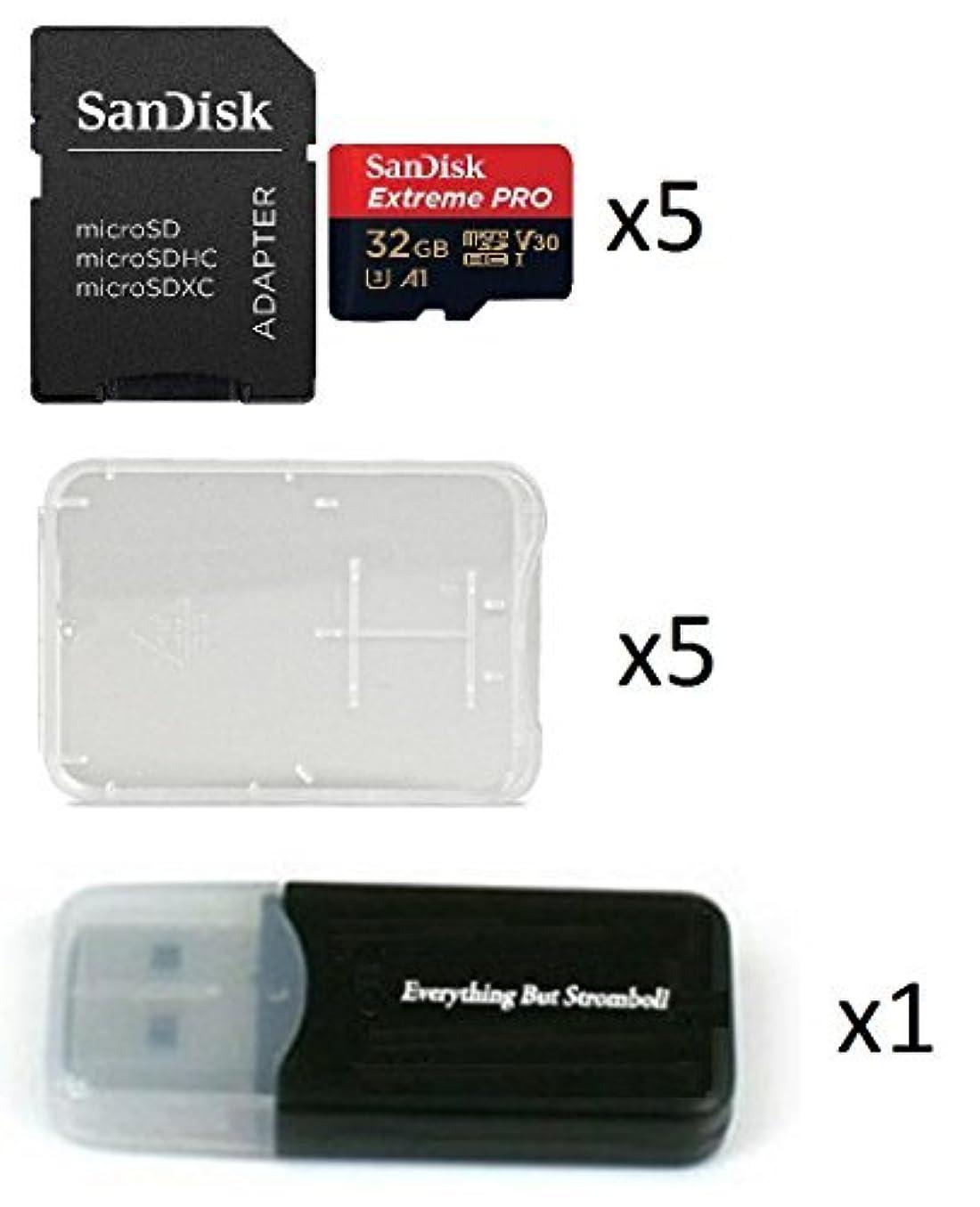 虹お世話になった不足32GB Sandisk Extreme Pro (Five Pack) 4K Micro Memory Card (SDSQXCG-032G-GN6MA) Class 10 U3 V30 A1 32G MicroSD HC Bundle with 5 Plastic Cases and 1 Everything But Stromboli (TM) Card Reader [並行輸入品]
