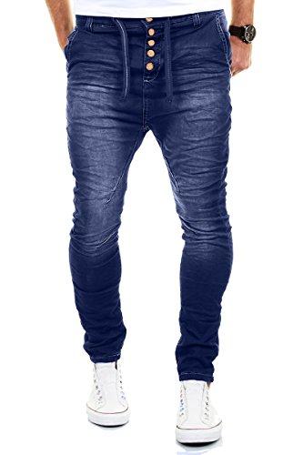 Merish Jeans Uomo Pantalone Cavallo Basso Slim Fit Sportivi Denim Modell J3012 Blu 36/32