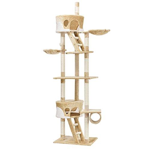 Sam`s Pet Kratzbaum Balou   deckenhoch   Kratzmöbel mit Sisal, Deckenspanner, Höhlen & Liegemulden   beige mit weiß   Katzenbaum