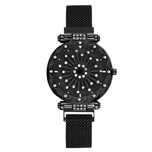 Armbanduhr Uhr Uhren Damen Analog Classic Quarzuhr Damenuhren Mode Magnetschnalle Edelstahl Zifferblatt Drehuhr Quarz Armbanduhr