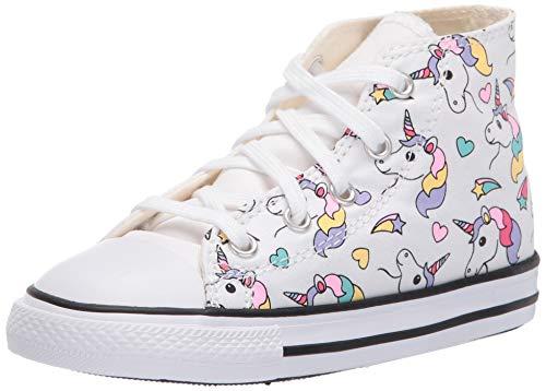 Converse Girls' Chuck Taylor All Star Sneaker, White/Black/Strawberry Jam, 7 M US Toddler