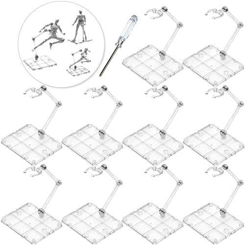 XISTEST Soporte Figura, 10 Piezas Soporte para Figura de Acción con 1 Piezas Destornillador Transparente