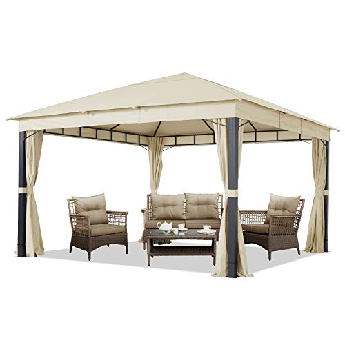 Gartenpavillon 4x4 m ALU Premium ca. 220g/m² Dachplane wasserdicht Pavillon 4 Seitenteile Gartenzelt Champagner ca. 9x9cm Profil
