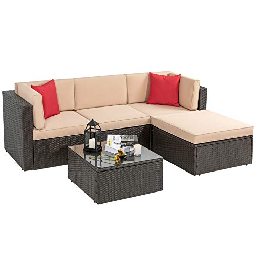 Vongrasig 5 Piece Patio Furniture Set, All-Weather Outdoor Small Sectional Patio Sofa Set, Wicker Rattan L-Shaped Patio Couch Conversation Set w/Ottoman, Glass Table, Beige Cushion & Red Pillow, Brown