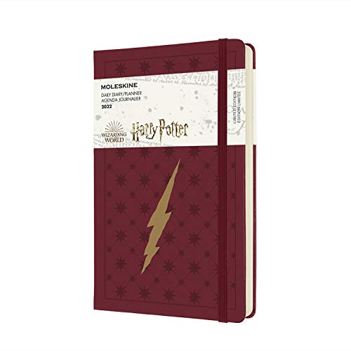 Moleskine Harry Potter Lightning - Diario de 12 meses con tapa dura, 2022, gran formato 13 x 21, color burdeos