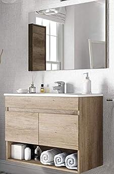 Foto di Piushopping Mobile Bagno Sospeso 80cm 2 Ante Cassetto Legno Specchio Lavabo Ceramica Arredo