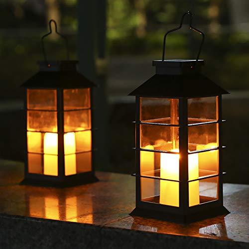 Tomshine 2er Solar Laterne Flackernde Flamme Feuerkerze LED Lampe im Freien hängende dekorative Beleuchtung für Garten