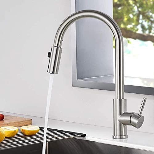 SDFD Single-Seiled Mixer Tap Edelstahl Küchenspüle mit Schwenkmund und Dusche 2 Jets für gebürstete Nickel-Küche