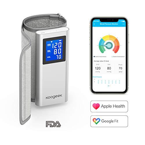 Bluetooth Oberarm Blutdruckmessgerät, Koogeek Blutdruckmessgerät mit großer Manschette, digitaler auto Blutdruck&Herzfrequenzmessung für den Heimgebrauch, 16 Sätze Speicher, LCD Hintergrundbeleuchtung