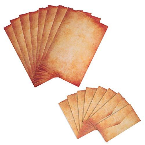 BELIOF 25 Briefpapierset Vintage Briefpaier mit passenden Briefumschlägen Motivpapier Altes Papier Nostalgie und Umschlägen Braun Antik Histrorisch für Briefe Geschenke Liebesbrief