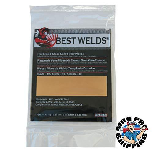 Best Welds Hardened Glass Gold Filter Plate Shade 10 #932-458-10