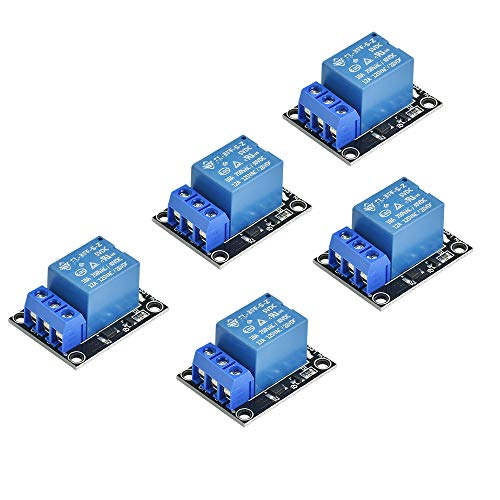 LYTIVAGEN 5 Stück Arduino Relais Modul 1 Kanal Relais Modul Shield DC 5V Relaismodul Bord High Level Trigger Relais mit Optokoppler Stromversorgungsmodul für Arduino PIC AVR DSP ARM