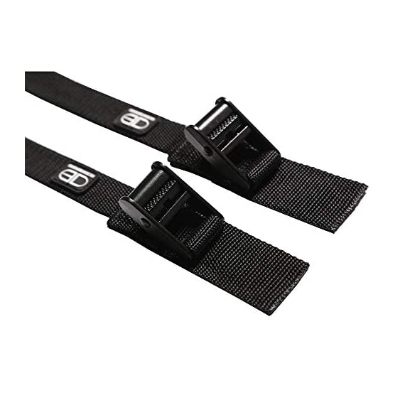 OCEANBROAD Roof Rack CargoTie Down Strap 2 Pieces Pack for Surfboard SUP Board Kayak Canoe 1 inch 14 feet, 1.5 inches 14… 5 SPECIFICATIONS: Set of 2 straps, strap width 1 inch, strap length 14 feet, cam buckle width 1.5 inches. SUPERIOR STRENGTH: Durable UV resistant polypropylene with reinforced stitching, heavy duty anodized zinc alloy cam buckle. VERSATILE: Suitable to secure surfboards, SUP boards, canoes and kayak etc. to your car roof rack.