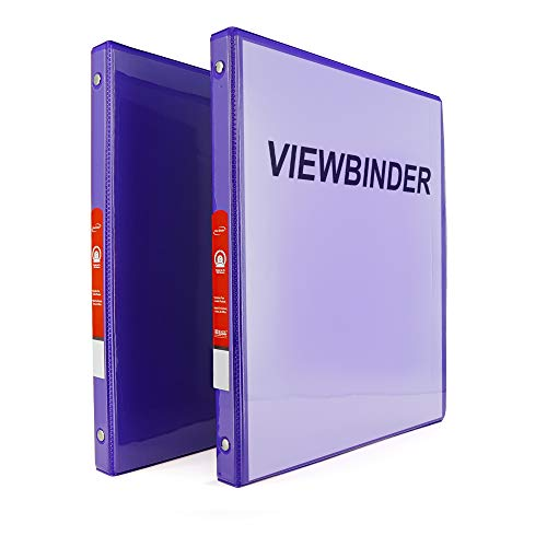 """Emraw Super Great 1/2"""" 3-Ring View Binder with 2-Pockets - Available in Purple - Great for School, Home, & Office (2-Pack)"""