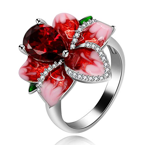 Uloveido Big Crystal blühende Rose Flower Statement Ring rote Emaille Sommerringe mit grünem Blatt Birne geschnitten CZ Gothic Ringe für Frauen Größe 54 (17.2) RA627