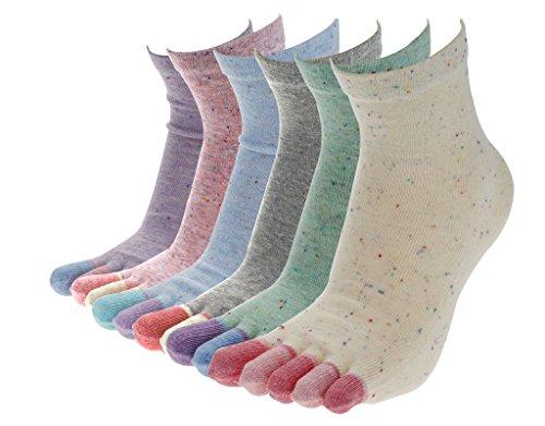 BONAMART ® 6 Pack Damen 5 Zehen Socken Zehensocken Socks 34-39