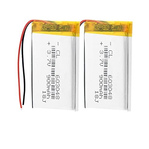 hsvgjsfa Batería De ión De Litio del PolíMero De 3.7v 900mah 603048, Batería Recargable para El Abejón De La Luz del Altavoz LED 2pieces