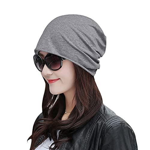 Women Elastic Hat Cycling Cap Outdoor Hood Casual Single Layer Solid Color Head Guard Cap Pullover Hair Care Head Cap Silver