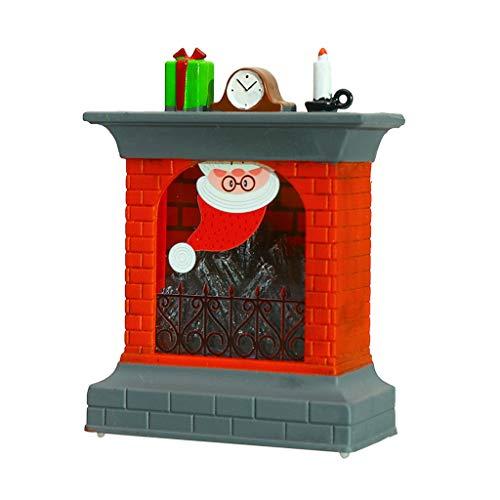 FBGood - Lámpara de noche para chimenea navideña, diseño de globo de nieve con purpurina iluminada para el hogar, abrigo de chimenea con Papá Noel