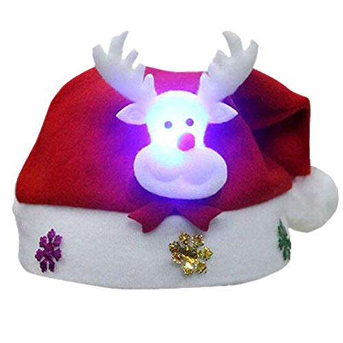 FPXNBONE Gorro de Papá Noel de peluche para Navidad, no tejido, terciopelo dorado, decoración de Navidad para niños, sombreros tradicionales de Papá Noel en felpa para niños b
