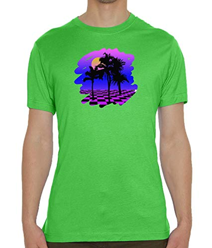 Synthwave Aesthetic Glitch Palm Sunset Green Men's Crew Neck T-Shirt S